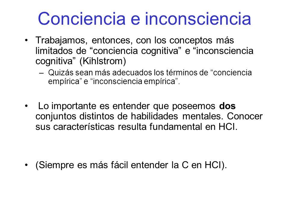 Conciencia e inconsciencia Trabajamos, entonces, con los conceptos más limitados de conciencia cognitiva e inconsciencia cognitiva (Kihlstrom) –Quizás sean más adecuados los términos de conciencia empírica e inconsciencia empírica.