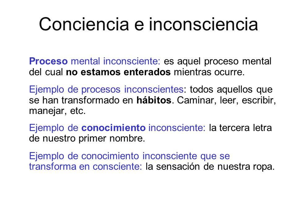 Conciencia e inconsciencia Proceso mental inconsciente: es aquel proceso mental del cual no estamos enterados mientras ocurre. Ejemplo de procesos inc