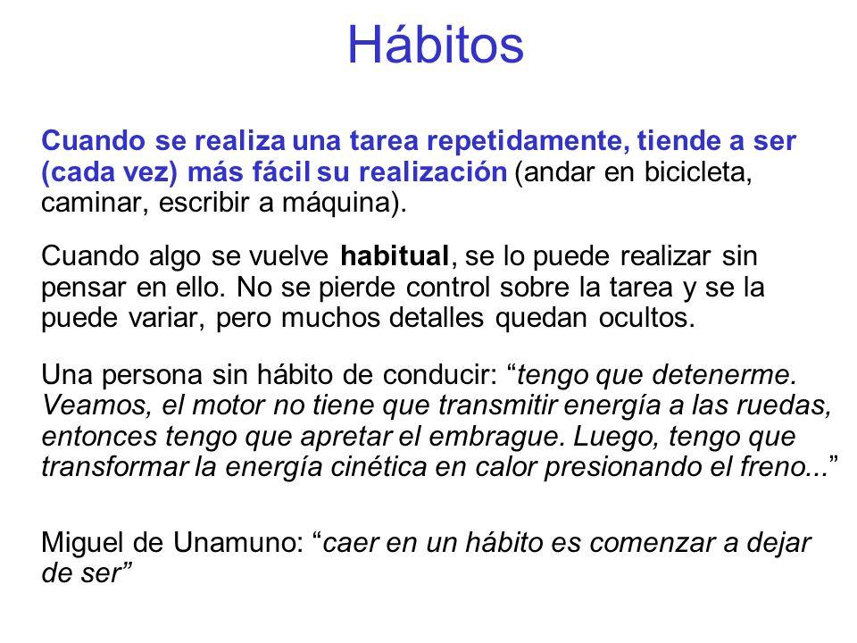 Hábitos Cuando se realiza una tarea repetidamente, tiende a ser (cada vez) más fácil su realización (andar en bicicleta, caminar, escribir a máquina).