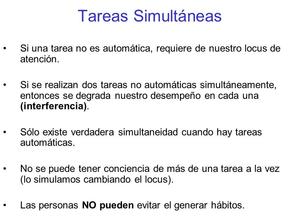 Tareas Simultáneas Si una tarea no es automática, requiere de nuestro locus de atención. Si se realizan dos tareas no automáticas simultáneamente, ent