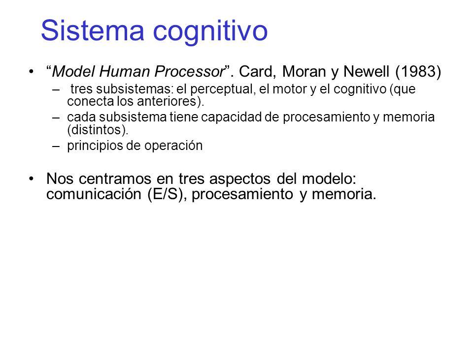 Sistema cognitivo Model Human Processor. Card, Moran y Newell (1983) – tres subsistemas: el perceptual, el motor y el cognitivo (que conecta los anter