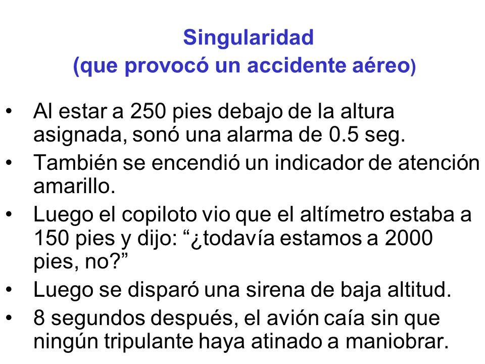 Singularidad (que provocó un accidente aéreo ) Al estar a 250 pies debajo de la altura asignada, sonó una alarma de 0.5 seg.