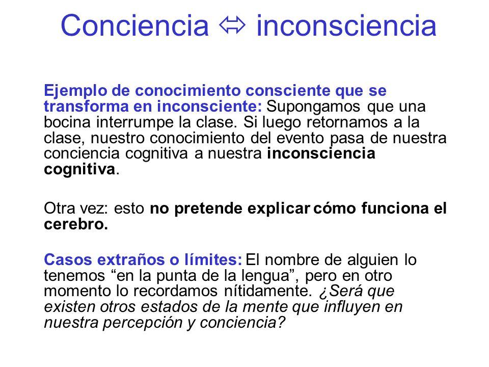 Conciencia inconsciencia Ejemplo de conocimiento consciente que se transforma en inconsciente: Supongamos que una bocina interrumpe la clase. Si luego
