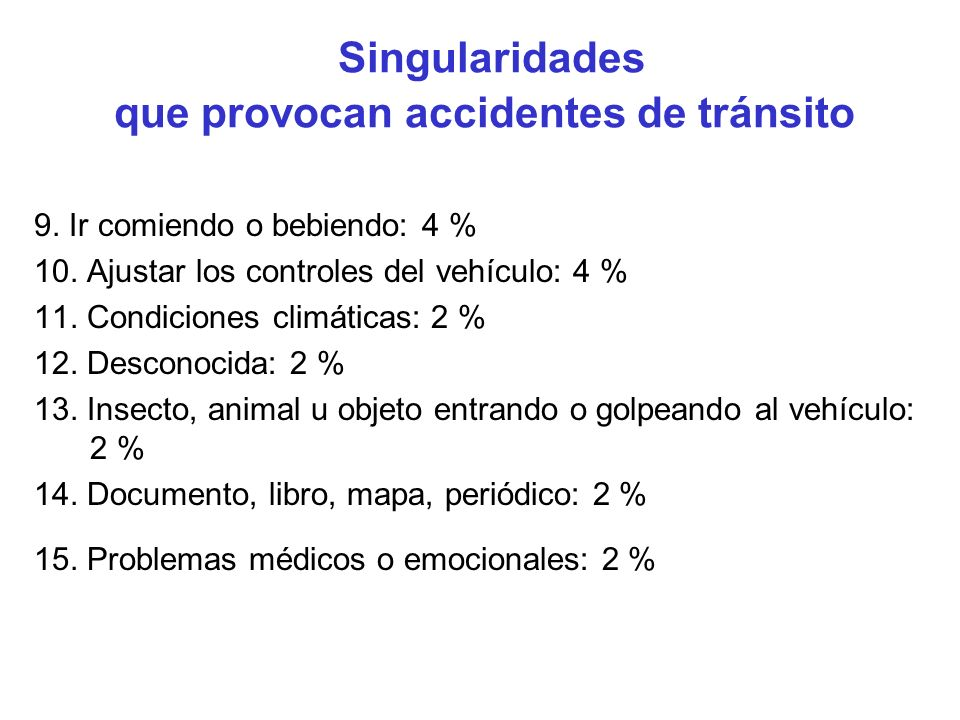 Singularidades que provocan accidentes de tránsito 9. Ir comiendo o bebiendo: 4 % 10. Ajustar los controles del vehículo: 4 % 11. Condiciones climátic