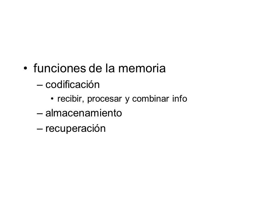 funciones de la memoria –codificación recibir, procesar y combinar info –almacenamiento –recuperación