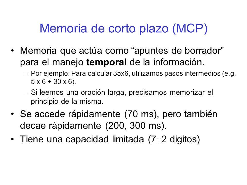 Memoria de corto plazo (MCP) Memoria que actúa como apuntes de borrador para el manejo temporal de la información. –Por ejemplo: Para calcular 35x6, u