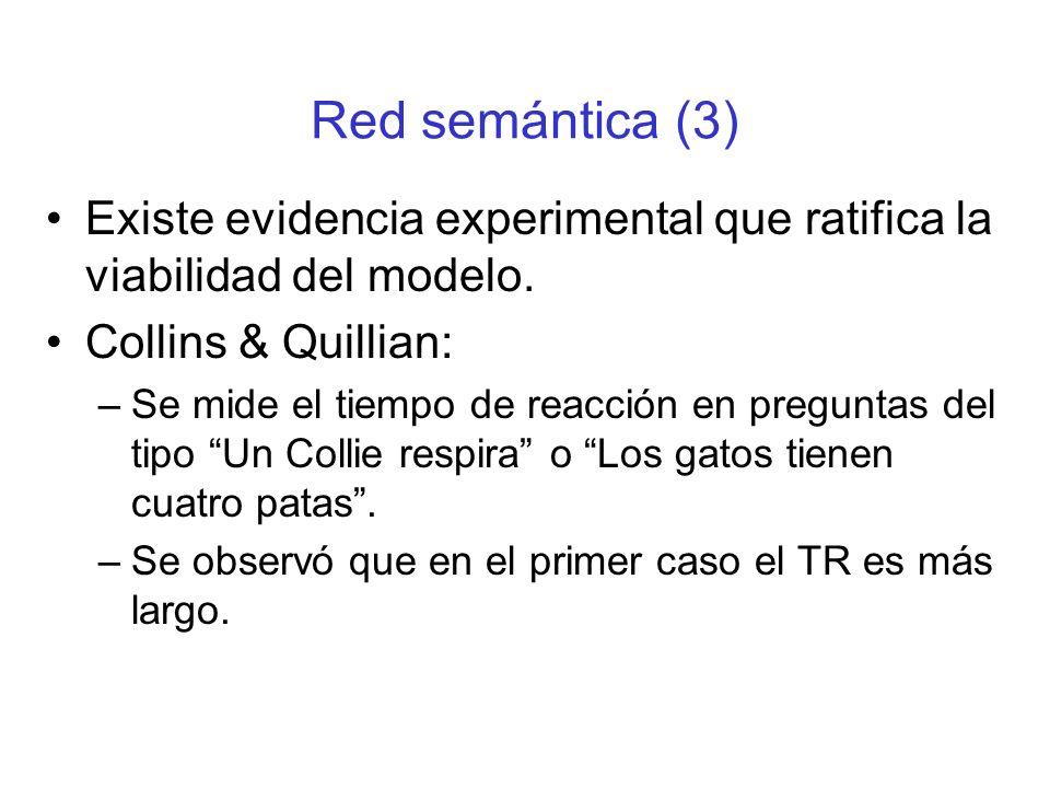 Red semántica (3) Existe evidencia experimental que ratifica la viabilidad del modelo. Collins & Quillian: –Se mide el tiempo de reacción en preguntas
