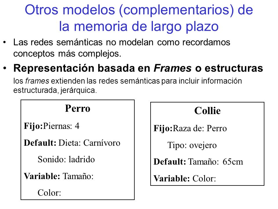 Otros modelos (complementarios) de la memoria de largo plazo Las redes semánticas no modelan como recordamos conceptos más complejos. Representación b