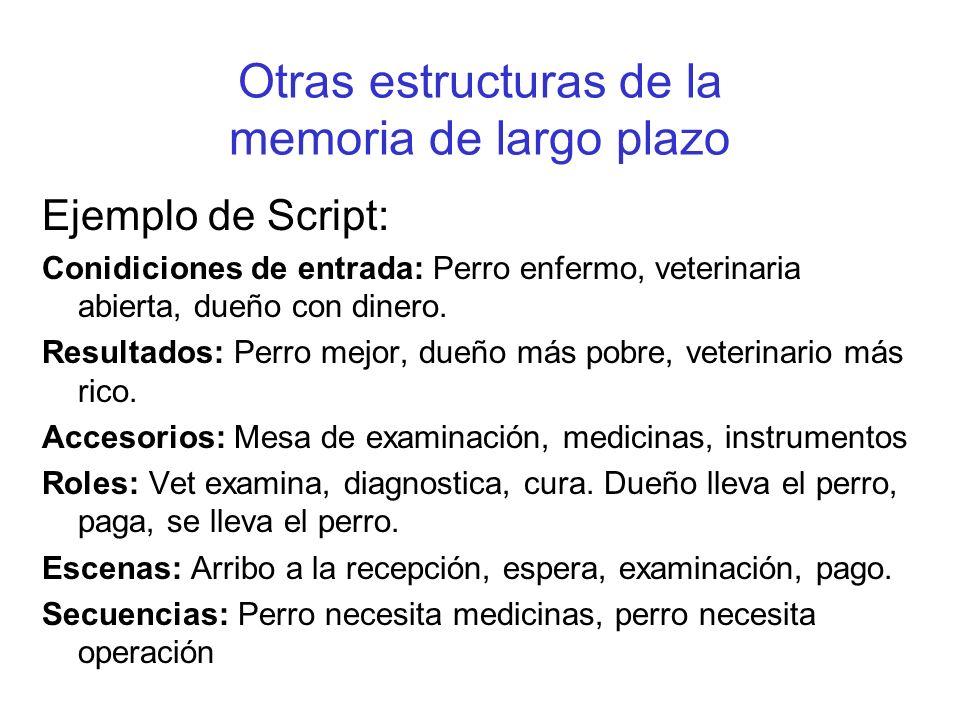 Otras estructuras de la memoria de largo plazo Ejemplo de Script: Conidiciones de entrada: Perro enfermo, veterinaria abierta, dueño con dinero. Resul