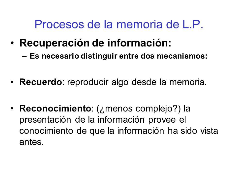 Procesos de la memoria de L.P. Recuperación de información: –Es necesario distinguir entre dos mecanismos: Recuerdo: reproducir algo desde la memoria.