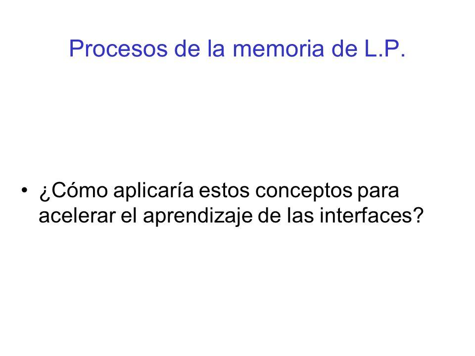 Procesos de la memoria de L.P. ¿Cómo aplicaría estos conceptos para acelerar el aprendizaje de las interfaces?