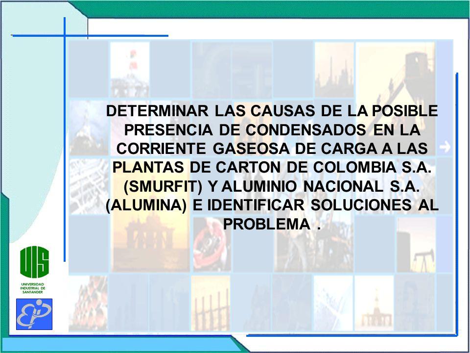 DETERMINAR LAS CAUSAS DE LA POSIBLE PRESENCIA DE CONDENSADOS EN LA CORRIENTE GASEOSA DE CARGA A LAS PLANTAS DE CARTON DE COLOMBIA S.A. (SMURFIT) Y ALU
