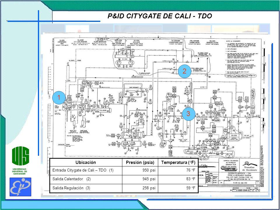 P&ID CITYGATE DE CALI - TDO UbicaciónPresión (psia)Temperatura (°F) Entrada Citygate de Cali – TDO (1)950 psi76 °F Salida Calentador (2)945 psi83 °F S