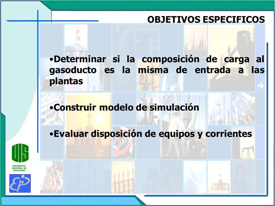 OBJETIVOS ESPECIFICOS Determinar si la composición de carga al gasoducto es la misma de entrada a las plantas Construir modelo de simulación Evaluar d