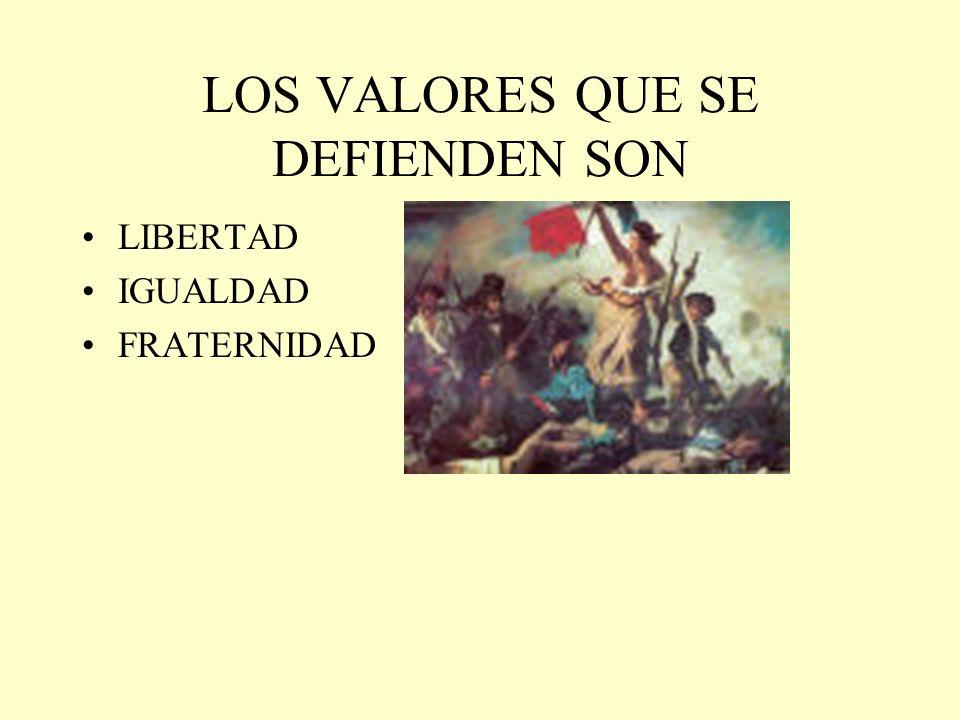 LOS VALORES QUE SE DEFIENDEN SON LIBERTAD IGUALDAD FRATERNIDAD