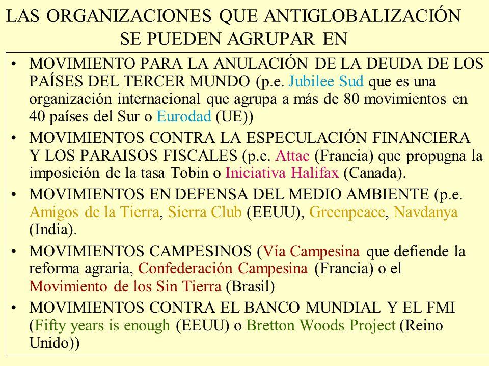LAS ORGANIZACIONES QUE ANTIGLOBALIZACIÓN SE PUEDEN AGRUPAR EN MOVIMIENTOS DE CONTESTACIÓN GLOBAL (p.e. Movimiento de Resistencia Global (España) que a