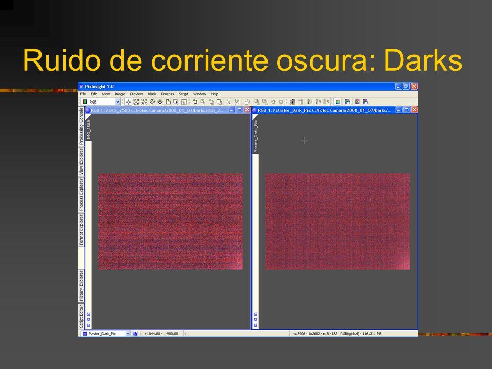 Ruido de corriente oscura: Darks Cuándo aplicarlos: Con una DSLR siempre es conveniente realizar y aplicar la correción de los Darks, pues éstas no di