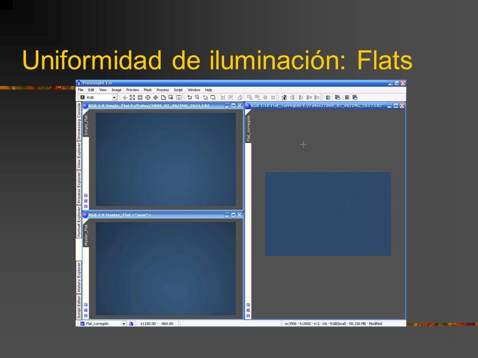 Uniformidad de iluminación: Flats Obtención de las tomas de calibración: Cuanto menor sea la focal más importante es la realización de Flats ¿Cómo apl