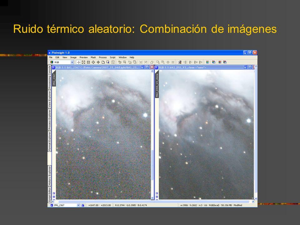 Ruido térmico aleatorio: Combinación de imágenes ¿Cómo aplicarlos? Para aplicarlos lo primero es indicarle al programa de calibrado la ruta dónde hemo