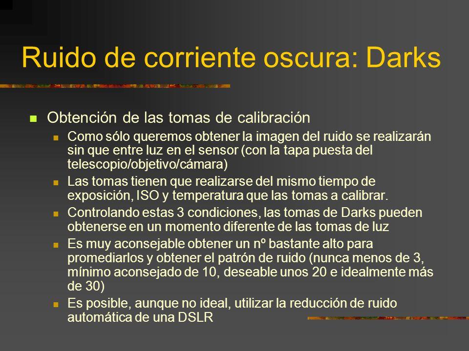 Ruido de corriente oscura: Darks ¿Qué és? Ruido de patrón fijo introducido por el sensor durante la captación de cada una de las tomas de luz La tempe