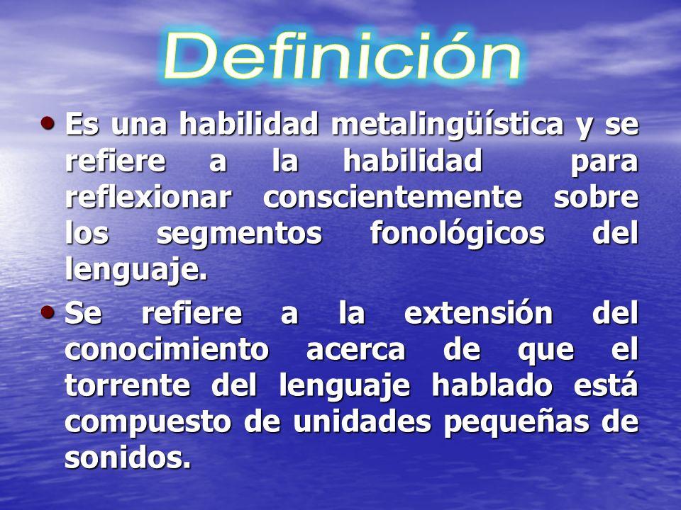 Habilidad para analizar y manipular explícitamente las unidades lingüísticas de la palabra a nivel oral (rimas, silabas y fonema s). Habilidad para an