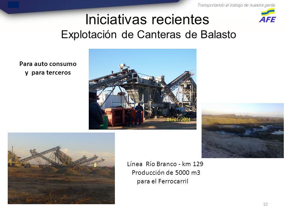 10 Rivera, 5 de Octubre de 2012 Iniciativas recientes Explotación de Canteras de Balasto Para auto consumo y para terceros Línea Río Branco - km 129 Producción de 5000 m3 para el Ferrocarril
