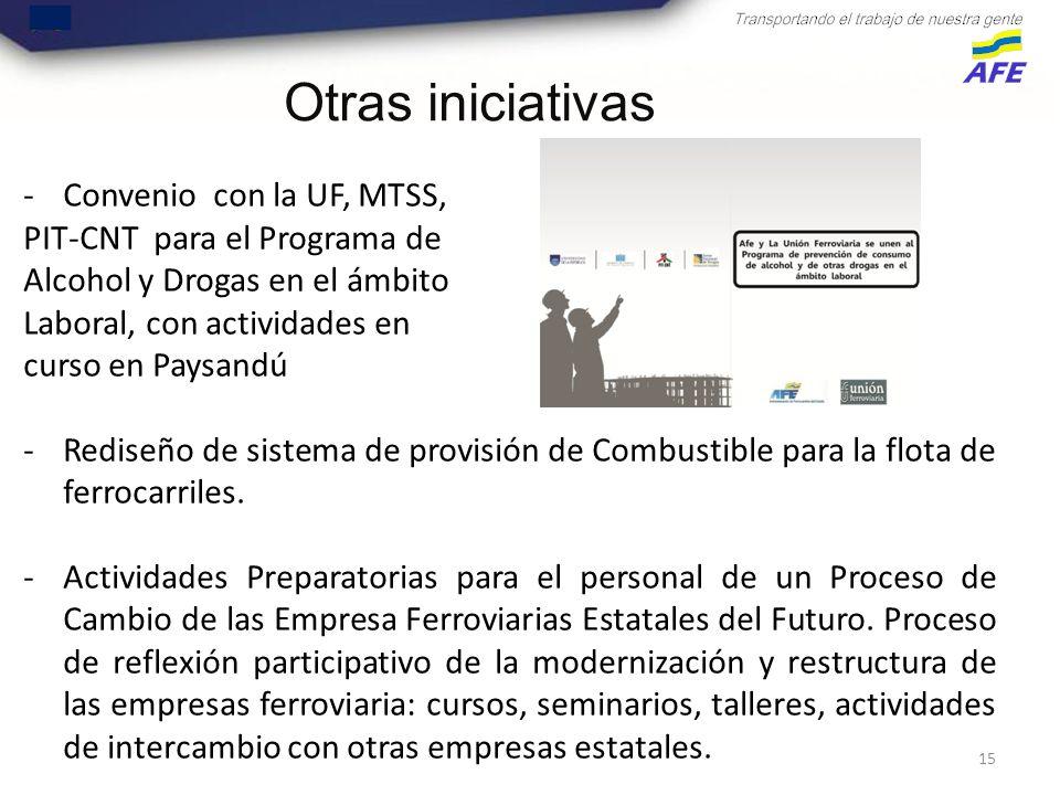 15 -Convenio con la UF, MTSS, PIT-CNT para el Programa de Alcohol y Drogas en el ámbito Laboral, con actividades en curso en Paysandú -Rediseño de sistema de provisión de Combustible para la flota de ferrocarriles.