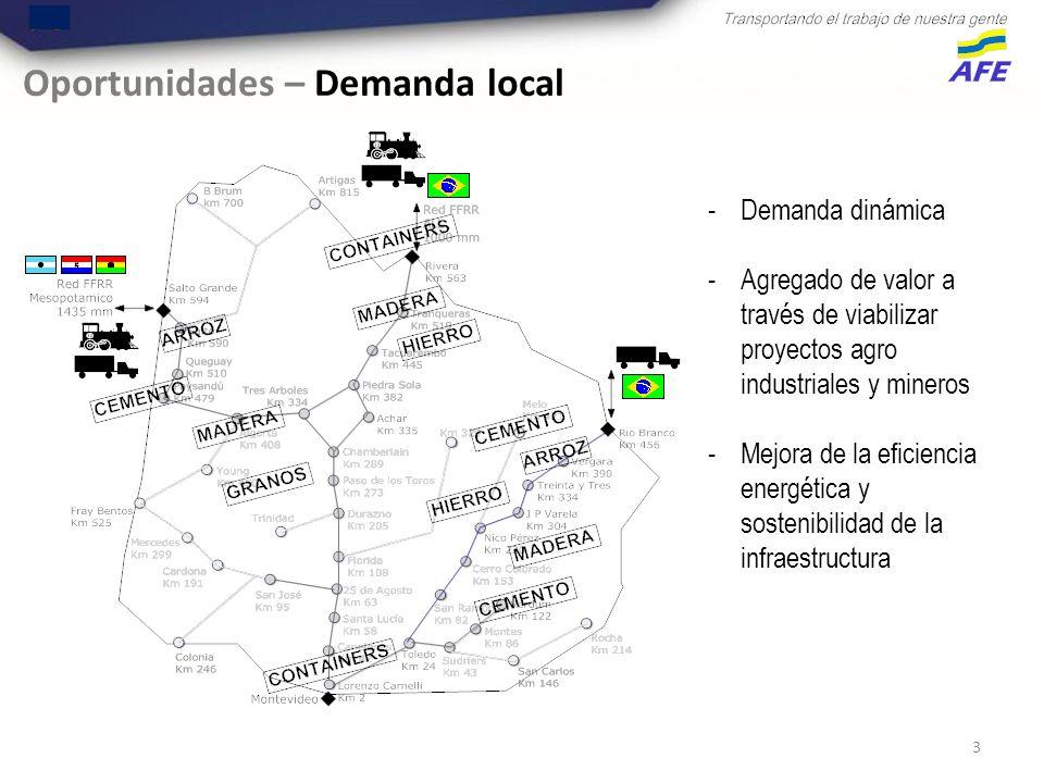 3 Oportunidades – Demanda local -Demanda dinámica -Agregado de valor a través de viabilizar proyectos agro industriales y mineros -Mejora de la eficiencia energética y sostenibilidad de la infraestructura