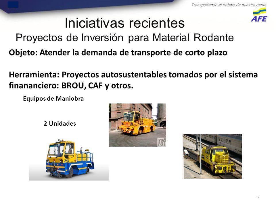 7 Objeto: Atender la demanda de transporte de corto plazo Herramienta: Proyectos autosustentables tomados por el sistema finananciero: BROU, CAF y otros.
