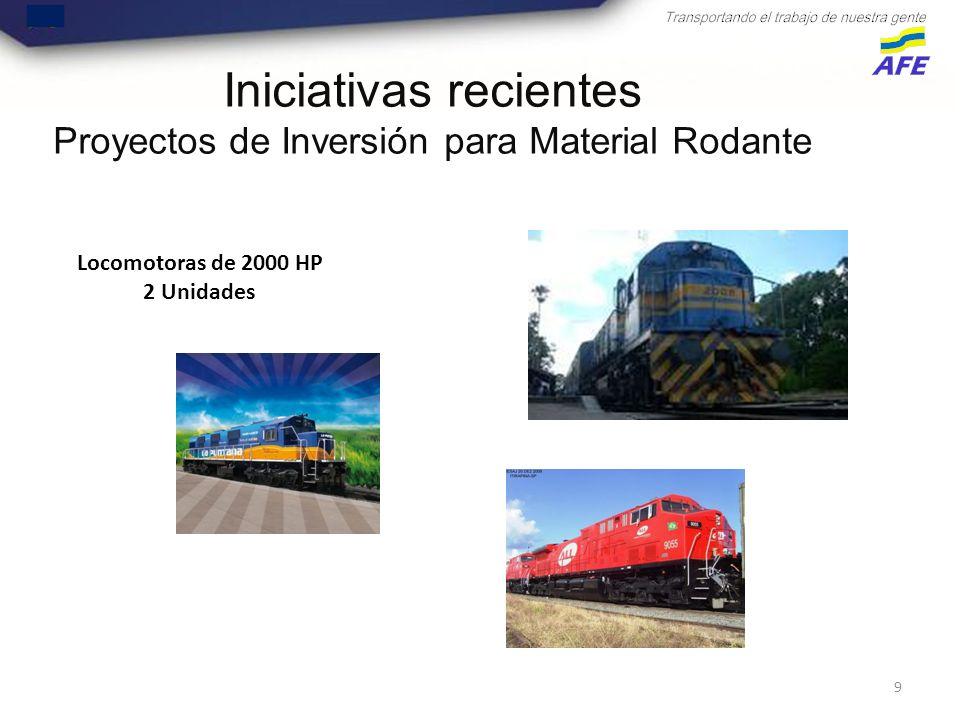 9 Iniciativas recientes Proyectos de Inversión para Material Rodante Locomotoras de 2000 HP 2 Unidades
