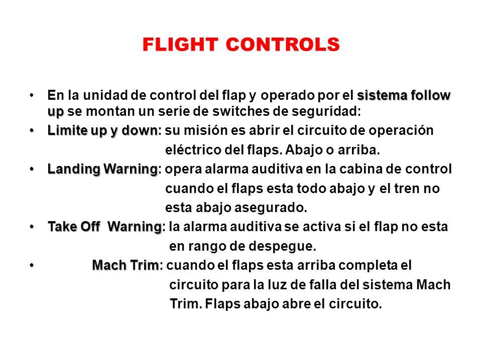 FLIGHT CONTROLS sistema follow upEn la unidad de control del flap y operado por el sistema follow up se montan un serie de switches de seguridad: Limi