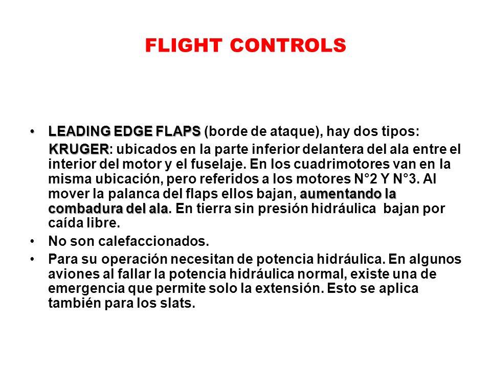 FLIGHT CONTROLS LEADING EDGE FLAPSLEADING EDGE FLAPS (borde de ataque), hay dos tipos: KRUGER aumentando la combadura del ala KRUGER: ubicados en la p