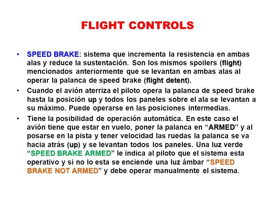 FLIGHT CONTROLS SPEED BRAKE flight flight detentSPEED BRAKE: sistema que incrementa la resistencia en ambas alas y reduce la sustentación. Son los mis