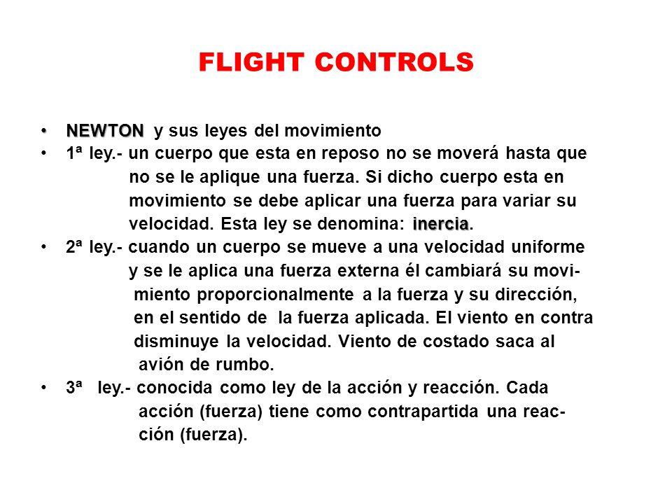 FLIGHT CONTROLS NEWTONNEWTON y sus leyes del movimiento 1 ª ley.- un cuerpo que esta en reposo no se moverá hasta que no se le aplique una fuerza. Si