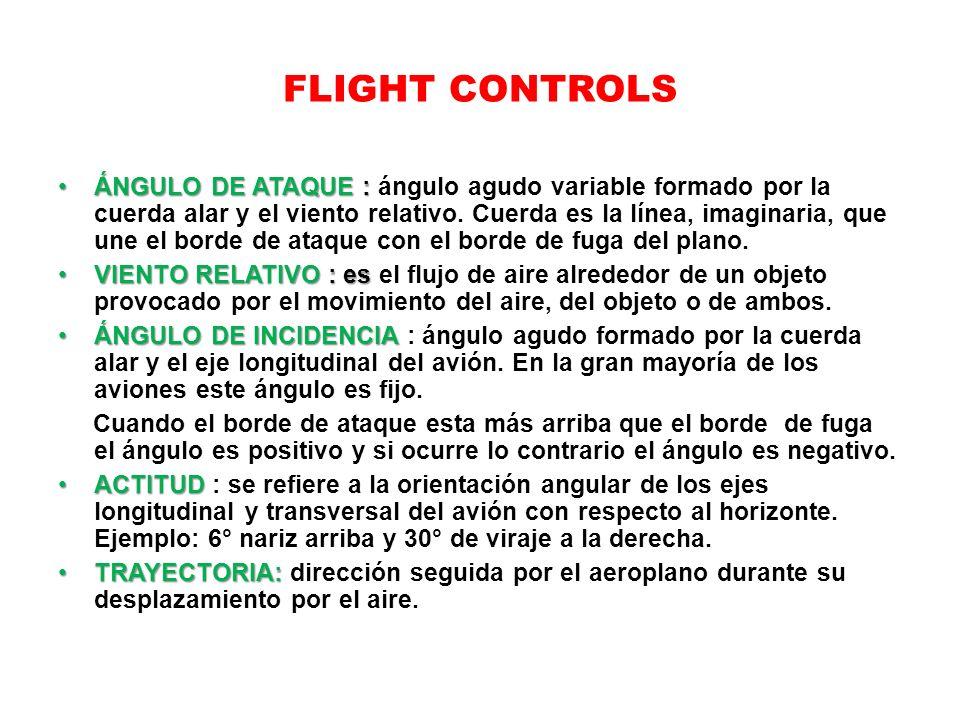 FLIGHT CONTROLS ÁNGULO DE ATAQUE :ÁNGULO DE ATAQUE : ángulo agudo variable formado por la cuerda alar y el viento relativo. Cuerda es la línea, imagin