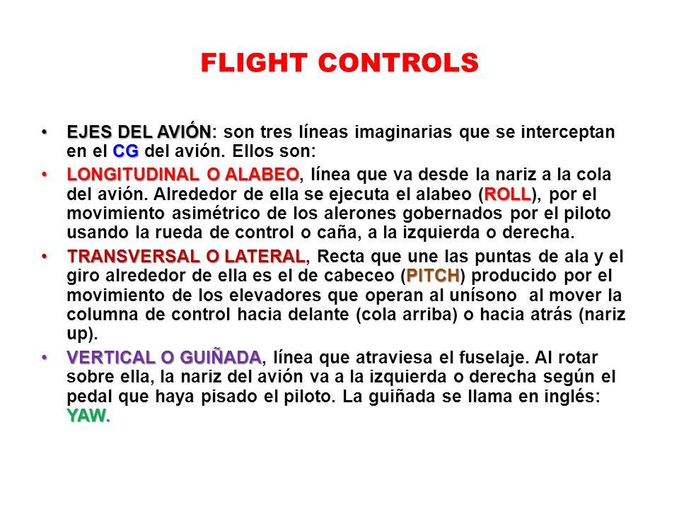 FLIGHT CONTROLS EJES DEL AVIÓN CGEJES DEL AVIÓN: son tres líneas imaginarias que se interceptan en el CG del avión. Ellos son: LONGITUDINAL O ALABEO R