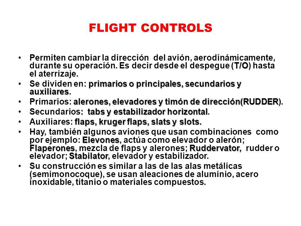 FLIGHT CONTROLS T/OPermiten cambiar la dirección del avión, aerodinámicamente, durante su operación. Es decir desde el despegue (T/O) hasta el aterriz