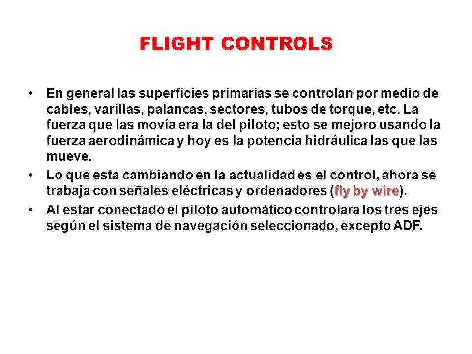 FLIGHT CONTROLS En general las superficies primarias se controlan por medio de cables, varillas, palancas, sectores, tubos de torque, etc. La fuerza q