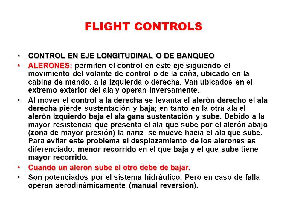 FLIGHT CONTROLS CONTROL EN EJE LONGITUDINAL O DE BANQUEOCONTROL EN EJE LONGITUDINAL O DE BANQUEO ALERONES:ALERONES: permiten el control en este eje si