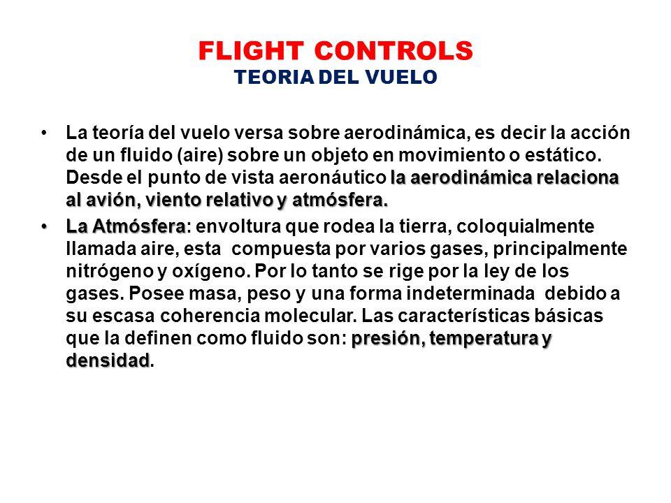 FLIGHT CONTROLS TEORIA DEL VUELO la aerodinámica relaciona al avión, viento relativo y atmósfera.La teoría del vuelo versa sobre aerodinámica, es deci