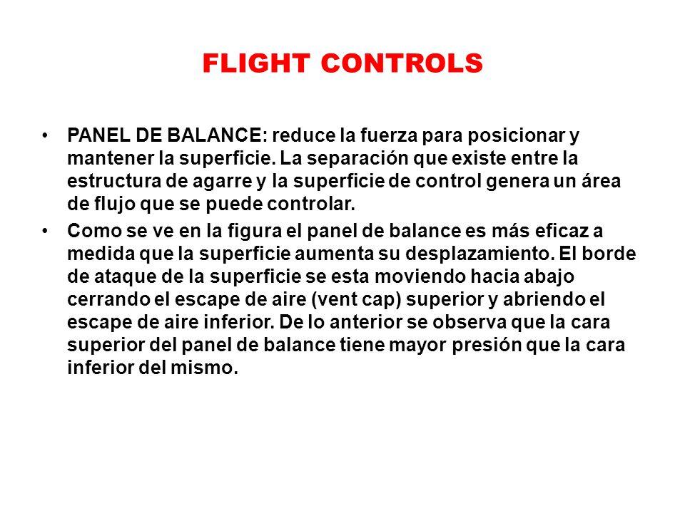 FLIGHT CONTROLS PANEL DE BALANCE: reduce la fuerza para posicionar y mantener la superficie. La separación que existe entre la estructura de agarre y