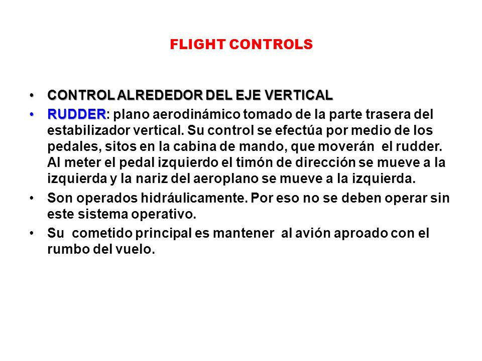 FLIGHT CONTROLS CONTROL ALREDEDOR DEL EJE VERTICALCONTROL ALREDEDOR DEL EJE VERTICAL RUDDERRUDDER: plano aerodinámico tomado de la parte trasera del e