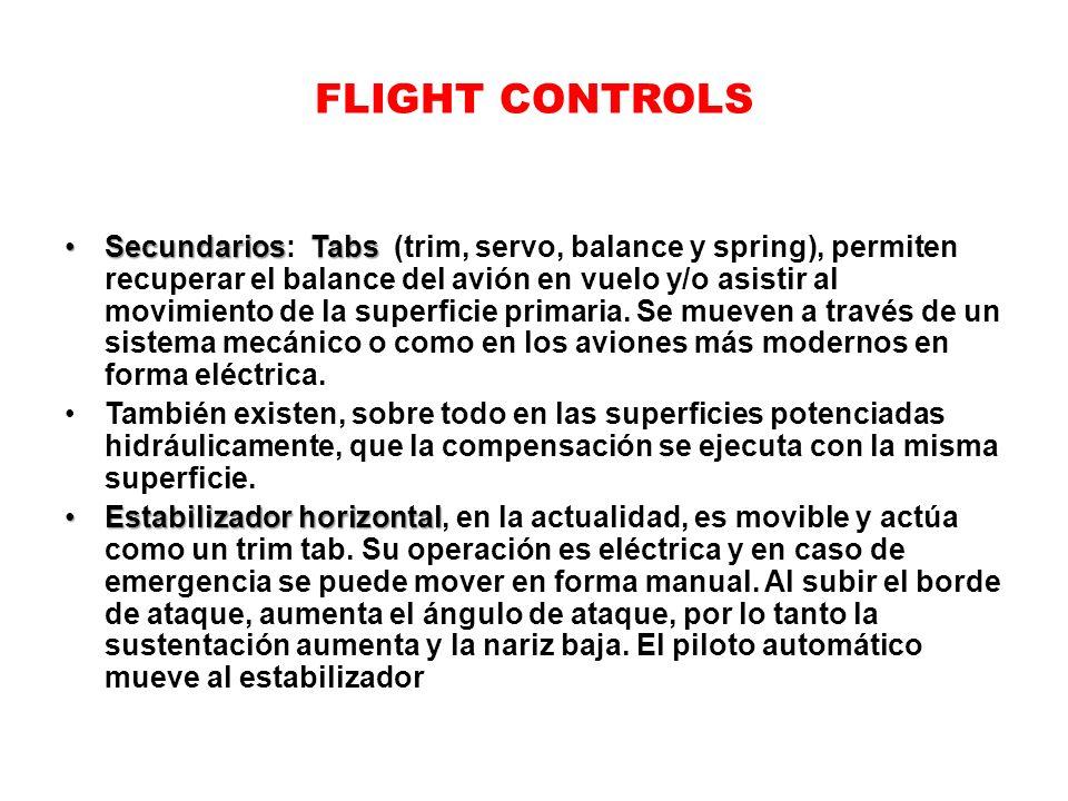 FLIGHT CONTROLS SecundariosTabsSecundarios: Tabs (trim, servo, balance y spring), permiten recuperar el balance del avión en vuelo y/o asistir al movi