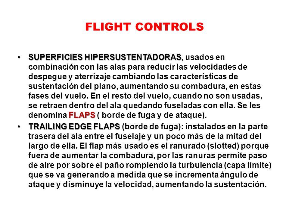 FLIGHT CONTROLS SUPERFICIES HIPERSUSTENTADORAS FLAPSSUPERFICIES HIPERSUSTENTADORAS, usados en combinación con las alas para reducir las velocidades de