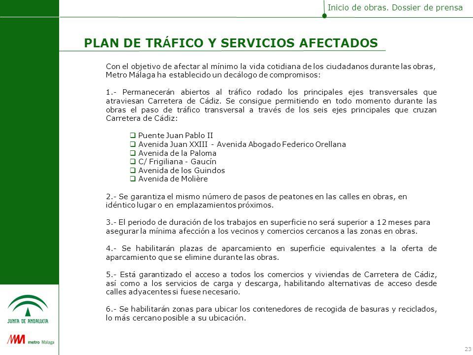 Con el objetivo de afectar al mínimo la vida cotidiana de los ciudadanos durante las obras, Metro Málaga ha establecido un decálogo de compromisos: 1.- Permanecerán abiertos al tráfico rodado los principales ejes transversales que atraviesan Carretera de Cádiz.