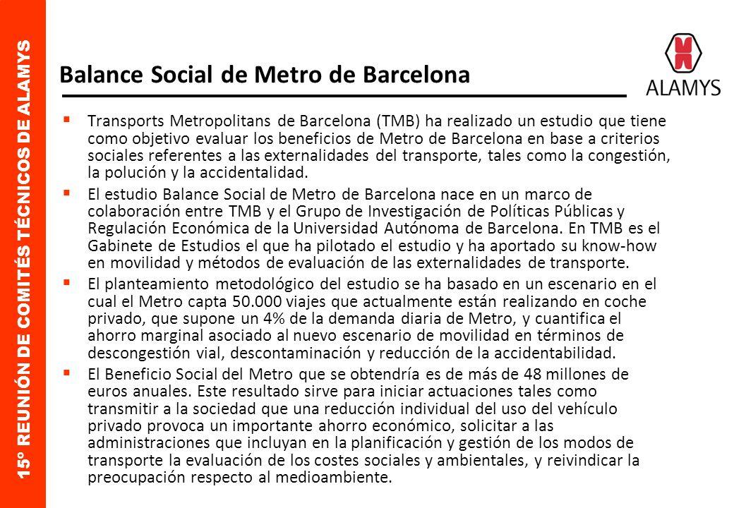 15º REUNIÓN DE COMITÉS TÉCNICOS DE ALAMYS Balance Social de Metro de Barcelona Transports Metropolitans de Barcelona (TMB) ha realizado un estudio que tiene como objetivo evaluar los beneficios de Metro de Barcelona en base a criterios sociales referentes a las externalidades del transporte, tales como la congestión, la polución y la accidentalidad.