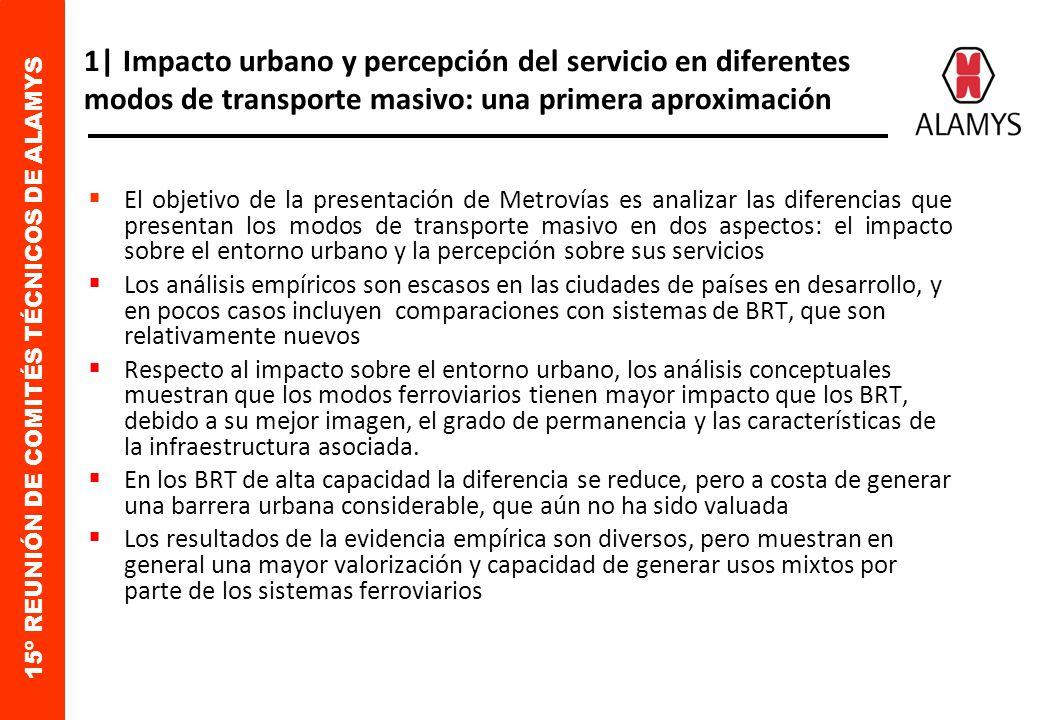 15º REUNIÓN DE COMITÉS TÉCNICOS DE ALAMYS 1| Impacto urbano y percepción del servicio en diferentes modos de transporte masivo: una primera aproximación El objetivo de la presentación de Metrovías es analizar las diferencias que presentan los modos de transporte masivo en dos aspectos: el impacto sobre el entorno urbano y la percepción sobre sus servicios Los análisis empíricos son escasos en las ciudades de países en desarrollo, y en pocos casos incluyen comparaciones con sistemas de BRT, que son relativamente nuevos Respecto al impacto sobre el entorno urbano, los análisis conceptuales muestran que los modos ferroviarios tienen mayor impacto que los BRT, debido a su mejor imagen, el grado de permanencia y las características de la infraestructura asociada.