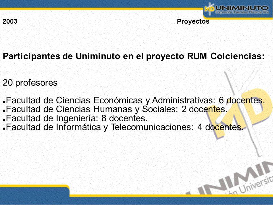 2003Proyectos Participantes de Uniminuto en el proyecto RUM Colciencias: 20 profesores Facultad de Ciencias Económicas y Administrativas: 6 docentes.