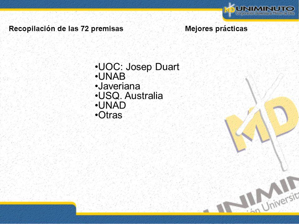 Recopilación de las 72 premisasMejores prácticas UOC: Josep Duart UNAB Javeriana USQ. Australia UNAD Otras