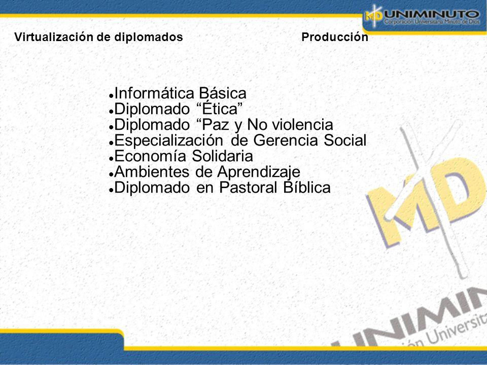 Virtualización de diplomadosProducción Informática Básica Diplomado Ética Diplomado Paz y No violencia Especialización de Gerencia Social Economía Sol